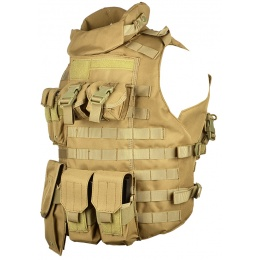 AMA 600D MOLLE Interceptor Body Armor OTV Plate Carrier - TAN