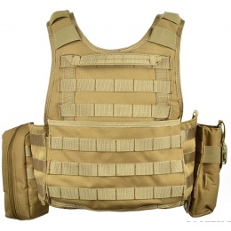 AMA 600D MOLLE Tactical Assault Plate Carrier w/ Cummerbund - TAN