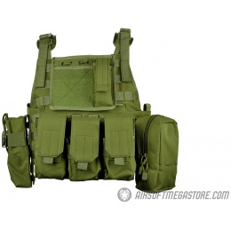 AMA 600D MOLLE Tactical Assault Plate Carrier w/ Cummerbund - OD GREEN