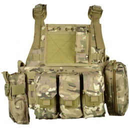 AMA 600D MOLLE Tactical Assault Plate Carrier w/ Cummerbund - LAND CAMO