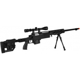 WellFire MB4411D Bolt Action Sniper Rifle w/ Scope and Bipod - BLACK