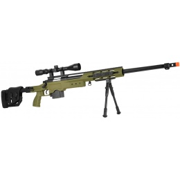 WellFire MB4411D Bolt Action Sniper Rifle w/ Scope and Bipod - OD GREEN