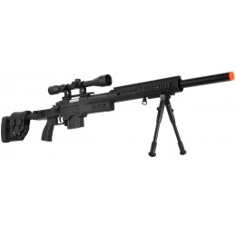 WellFire MB4410 Bolt Action Sniper Rifle w/ Scope and Bipod - BLACK
