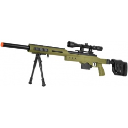 WellFire MB4410 Bolt Action Sniper Rifle w/ Scope and Bipod - OD GREEN