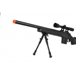 WellFire MB4404BAB Airsoft M24 Sniper Rifle w/ Scope & Bipod - BLACK