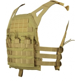 Jagun Tactical MOLLE Airsoft JPC Plate Carrier w/ Dummy Plates - TAN