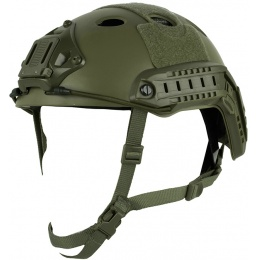 Bravo High-Speed Tactical PJ Helmet V2 w/ Side Adapter Rails - OD GREEN