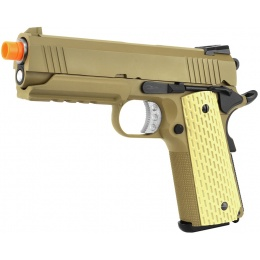 WE Airsoft 4.3 Desert Warrior Full Metal Gas Blowback Pistol - TAN
