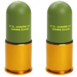 ICS 2X Lightweight 40mm Green Gas Airsoft 70rd Grenade Shell