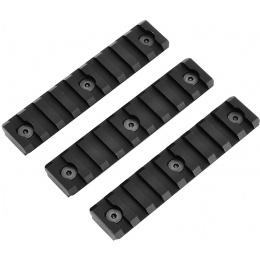 ICS Airsoft Metal KeyMod Rail Segment 9 Slot 3-Piece Set - BLACK