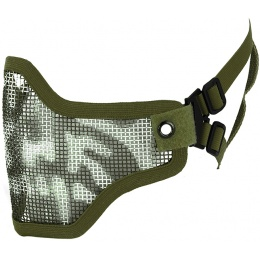 CYMA Airsoft Steel Mesh Adjustable Lower Face Mask - OD GREEN SKULL