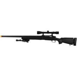 Lancer Tactical Airsoft M24 Bolt Action Sniper Rifle w/ Scope & Bipod - BLACK