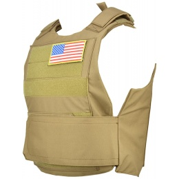 Lancer Tactical Airsoft Adjustable American Body Armor - TAN