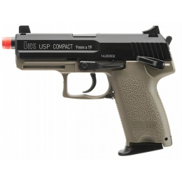 H&K Metal Gas Blowback Compact USP Airsoft Pistol - BLACK/TAN