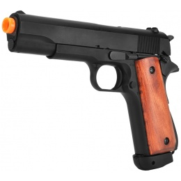 Bell WWII M1911A1 Airsoft Pistol CO2 Blowback Gun - BLACK/WOOD