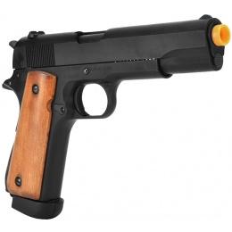 Bell WWII M1911A1 Airsoft Pistol CO2 Blowback Gun - BLACK/WOOD