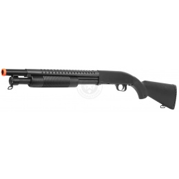 DE M58A Airsoft Tactical Shotgun M500 Heavy Hitter w/ Full Stock - BLACK