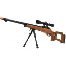 WellFire MB10D Bolt Action Sniper Rifle w/ Scope and Bipod - FAUX WOOD