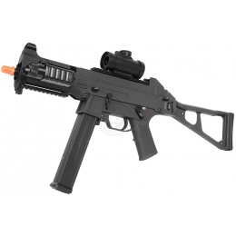 390 FPS DE Full Metal Gearbox Tactical SMG-45 Airsoft AEG Rifle w/ Tactical Flashlight and Red Dot Scope PACKAGE