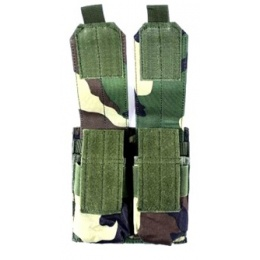 AMA MOLLE Double Rifle Airsoft Magazine Pouch - WOODLAND CAMO
