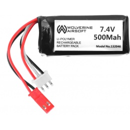 Wolverine Airsoft 7.4V 500 mAh 15C Lithium Polymer LiPo Brick Battery