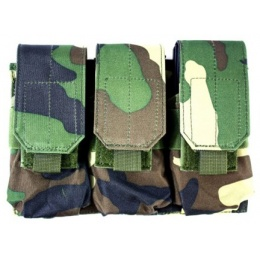 AMA MOLLE Triple Rifle Airsoft Magazine Pouch - WOODLAND CAMO