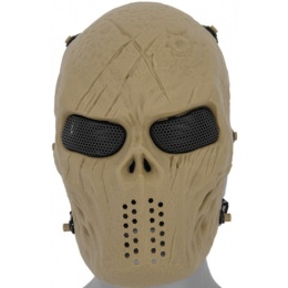 Airsoft Villain Skull Mesh Face Mask - TAN