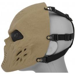 Airsoft Villain Skull Mesh Face Mask - TAN
