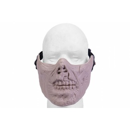 Airsoft Half Face Zombie Skull Mask - TAN