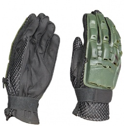 AMA Tactical Airsoft Hard Back Full Finger Gloves - OLIVE DRAB