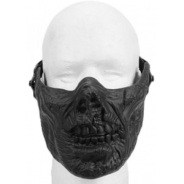 Airsoft Half Face Zombie Skull Mask - BLACK