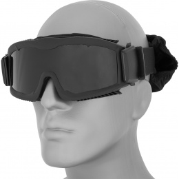Lancer Tactical Stylized Vented Smoke Lens Airsoft Goggles - BLACK