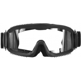 Lancer Tactical Airsoft Goggles w/ Vented Clear Lens Frame - BLACK