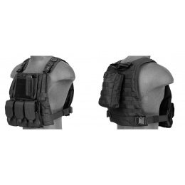 Lancer Tactical Airsoft MOLLE Tactical Vest w/ Pouch System - BLACK
