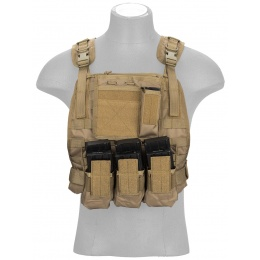 Lancer Tactical Airsoft MOLLE Plate Carrier w/ Pouch System - TAN