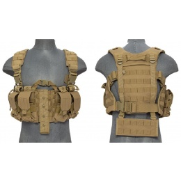 Lancer Tactical Airsoft M4 Chest Harness MOLLE Rig - TAN