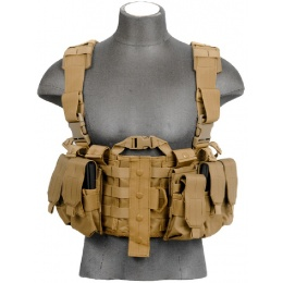 Lancer Tactical Airsoft M4 Chest Harness MOLLE Rig [Nylon] - TAN