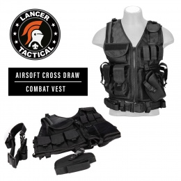 Lancer Tactical Airsoft Cross Draw Combat Vest w/ Holster - BLACK