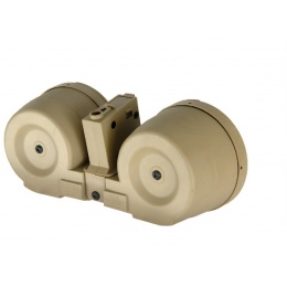 ICS Airsoft M4 AEG 2500rd Adaptive Drum Magazine w/ Mag Adapter - TAN