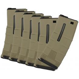 ICS T-Mag 180rd Mid-Cap Magazine 6 Pack for M4 / M16 AEG - TAN