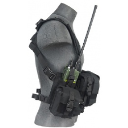 Lancer Tactical 600D Airsoft Load Bearing Chest Rig w/ Zipper - BLACK