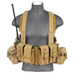 Lancer tactical Airsoft T1G Load Bearing Chest Rig with Zipper - TAN