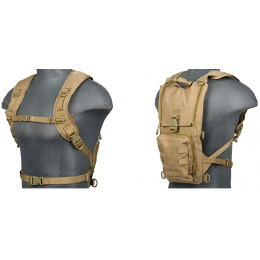 Lancer Tactical Lightweight Airsoft Hydration Pack - TAN