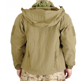 Lancer Tactical Airsoft Soft Shell Jacket w/ Hood - TAN