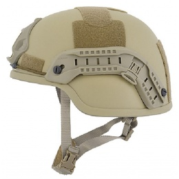 Lancer Tactical ACH MICH 2000 Airsoft Helmet with Side Rail - TAN