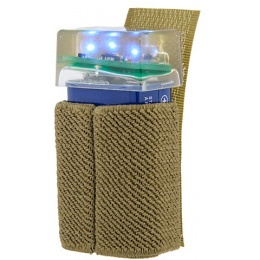 UK Arms 3-LED BLUE Flashing Beacon w/ Hook and Loop System - TAN