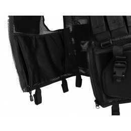 AMA Airsoft Cross-Draw Military Vest w/ Tactical Belt - BLACK