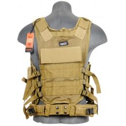 Lancer Tactical Polyester Crossdraw Vest w/ Pistol Holster - KHAKI