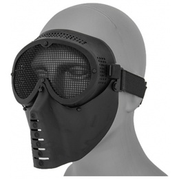 UK Arms Face Mask w/ Metal Mesh Eye Protection - BLACK