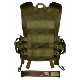 AMA Airsoft Cross-Draw Military Vest w/ Tactical Belt - WOODLAND